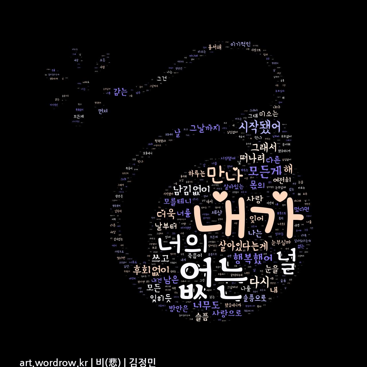 워드 클라우드: 비(悲) [김정민]-74